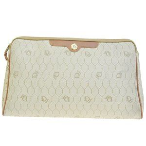 Christian Dior Logos Clutch Bag Canvas Leather Bei